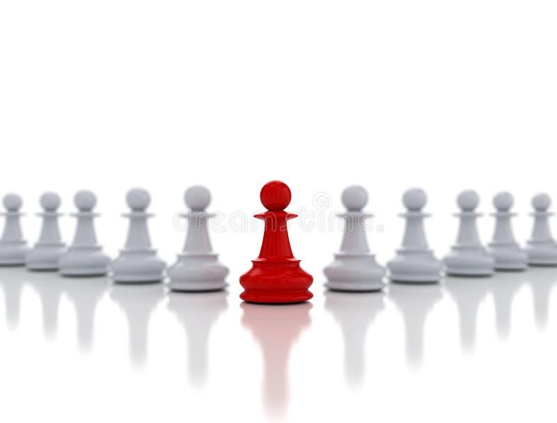 Enkelt rött schack pantsätter ledarskap vektor illustrationer