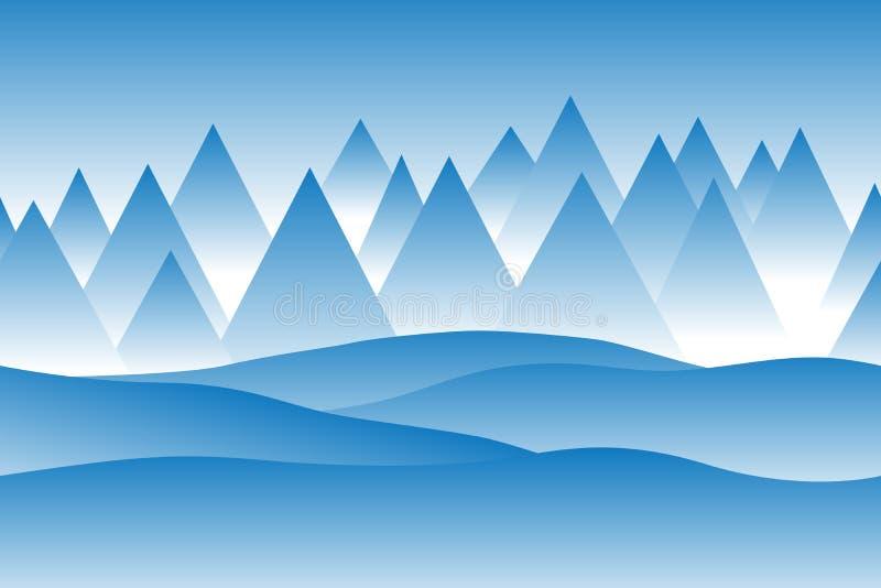 Enkelt sömlöst vektorvinterlandskap med blåa dimmiga berg som täckas i snö stock illustrationer
