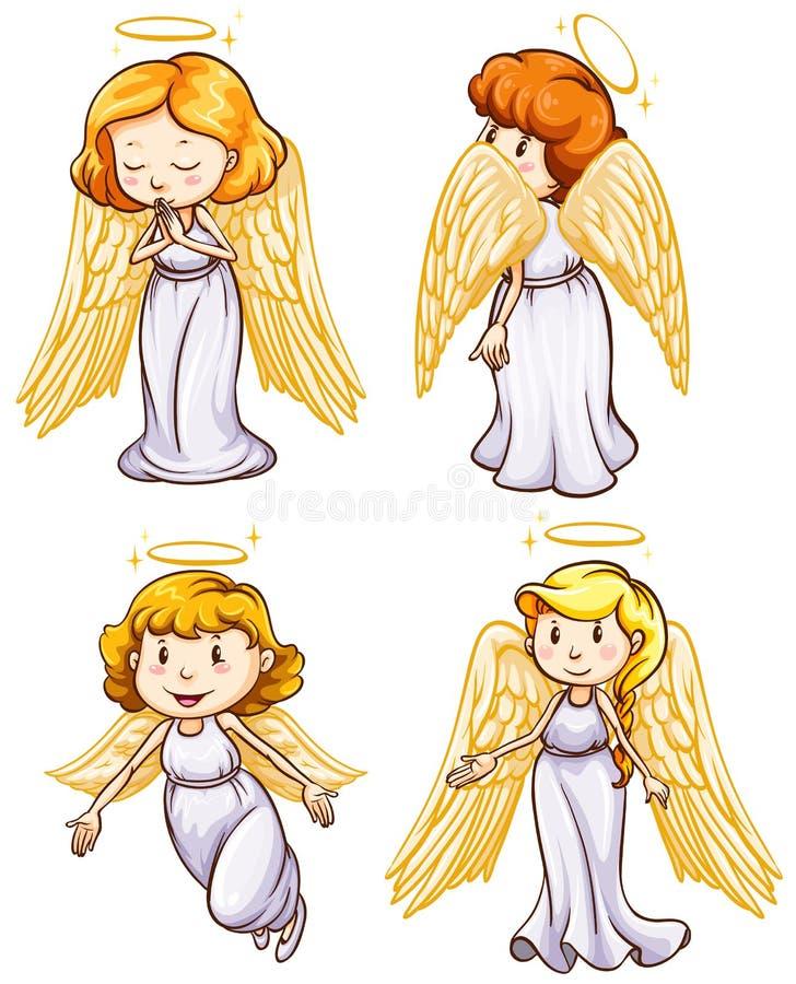 Enkelt skissar av änglar vektor illustrationer