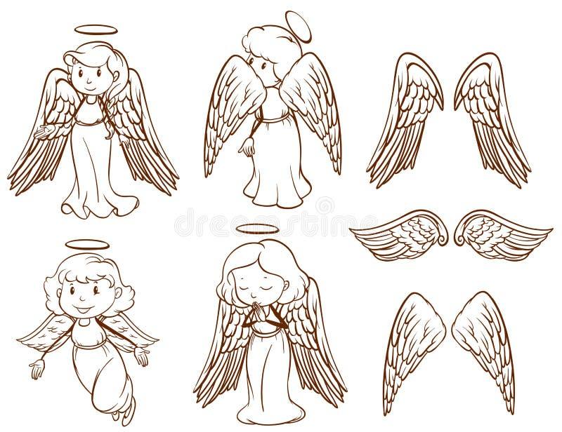 Enkelt skissar av änglar och deras vingar vektor illustrationer