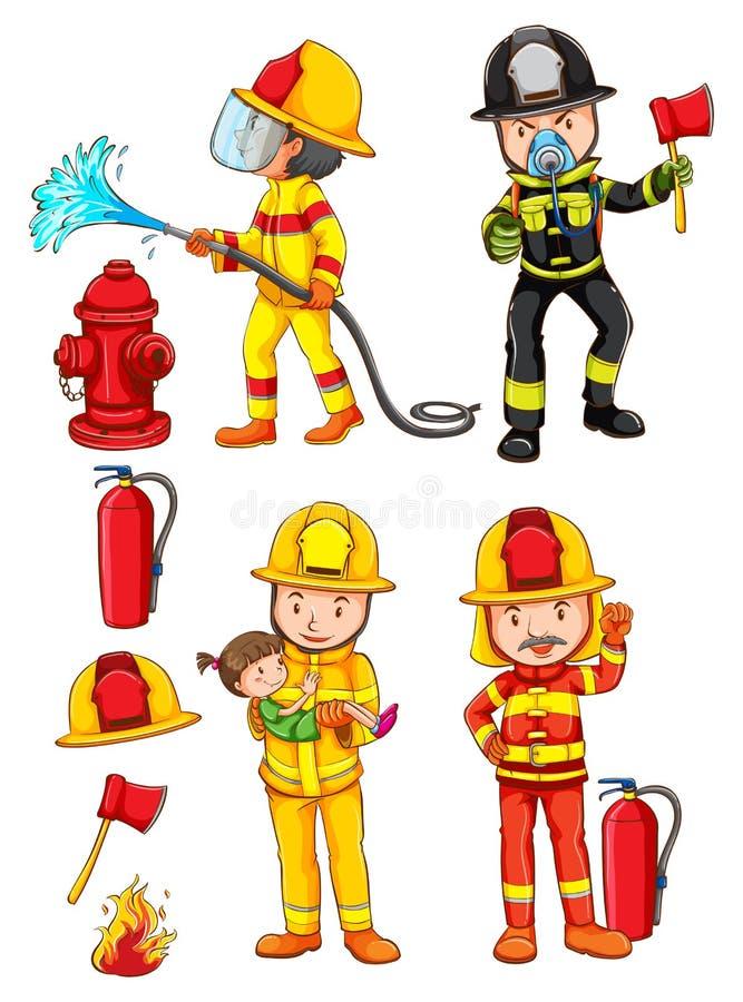 Enkelt skissar av brandmännen stock illustrationer