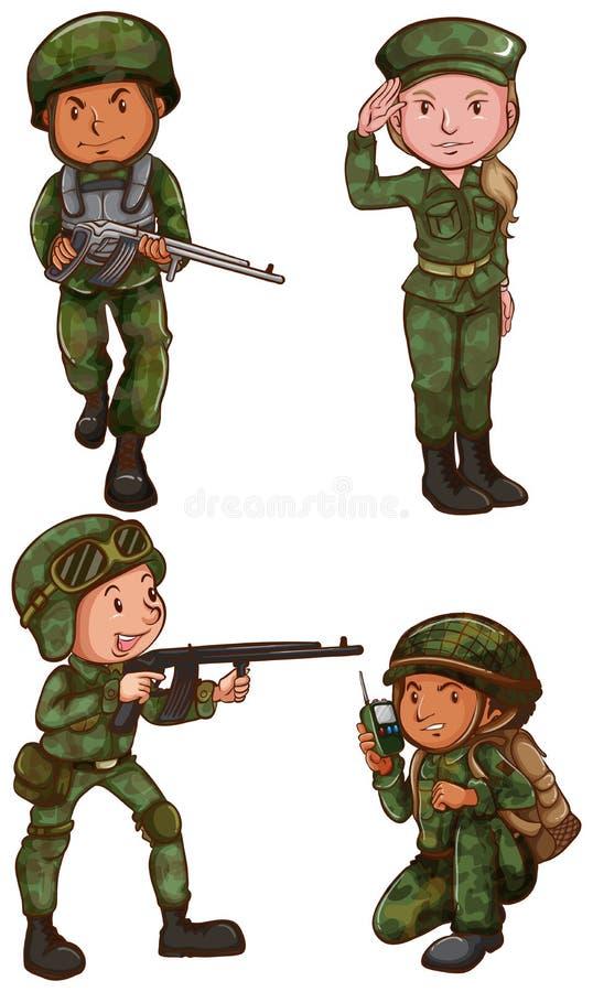 Enkelt skissar av en soldat vektor illustrationer