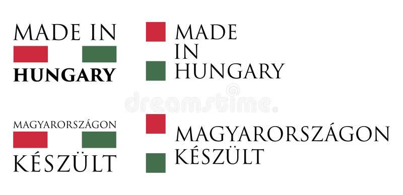 Enkelt som göras i Ungern/ungersk översättningsetikett Textintelligens royaltyfri illustrationer