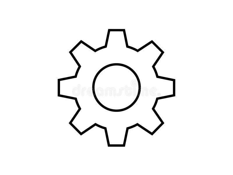 Enkelt symbol för kuggehjulillustration stock illustrationer
