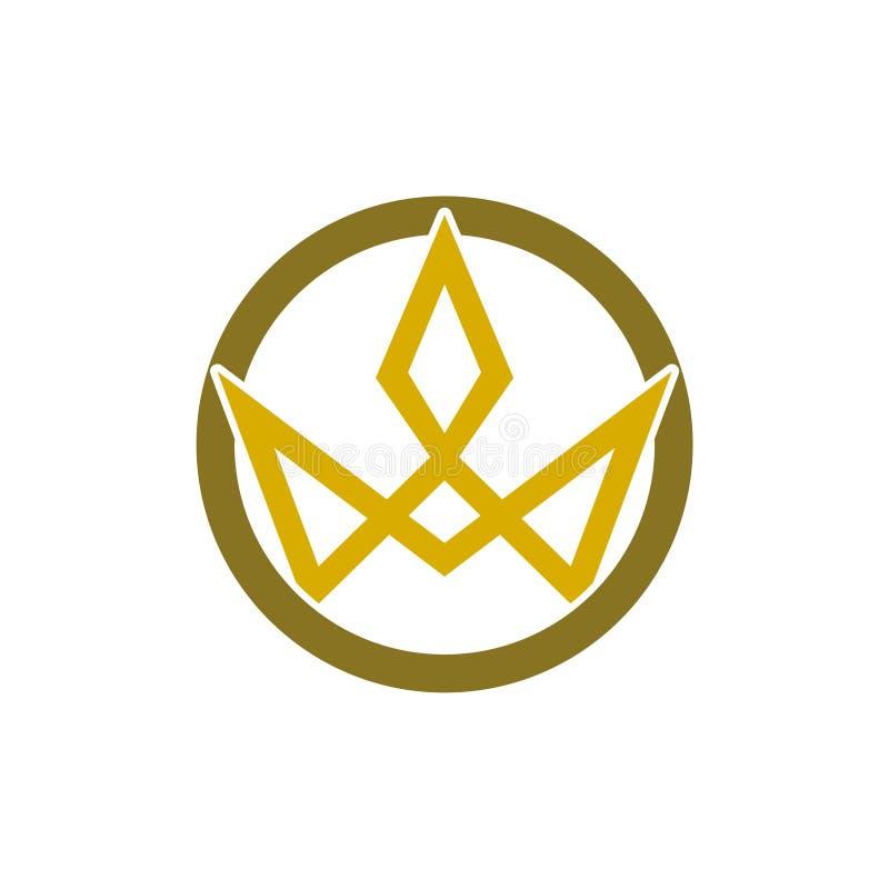 Enkelt symbol f?r kronaLogo Royal King Queen begrepp stock illustrationer