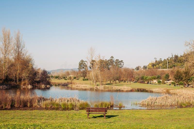 Enkelt töm bänken i en parkera med sjön fotografering för bildbyråer