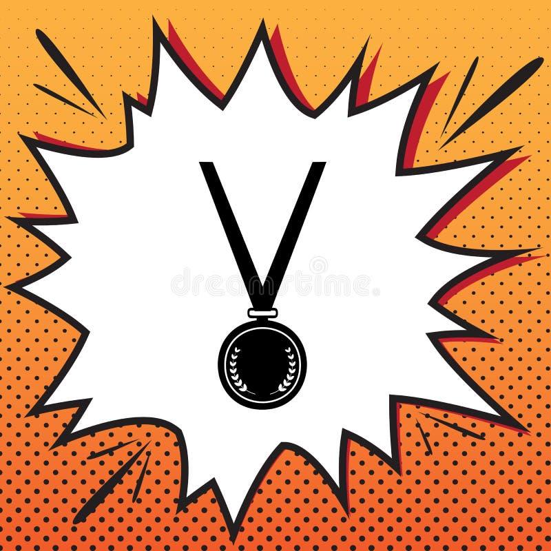 Enkelt tecken för medalj vektor Komikerstilsymbol på pop-konst backgrou royaltyfri illustrationer
