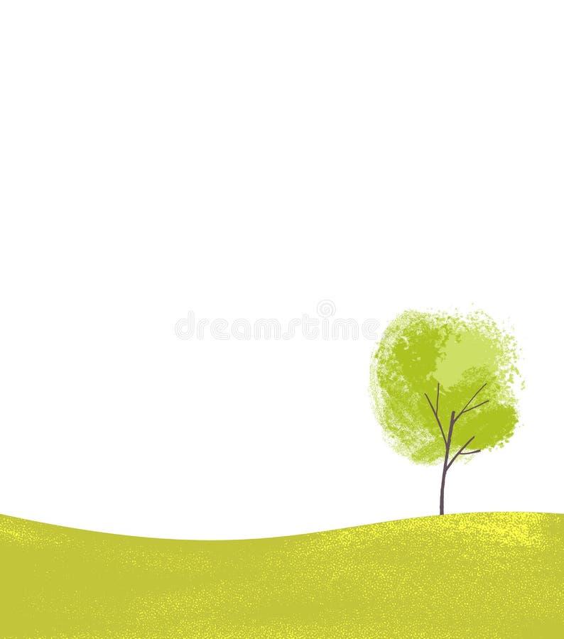 Enkelt träd på den gröna kullen Enkel landsapeplats, naturbakgrund med stället för text royaltyfri illustrationer