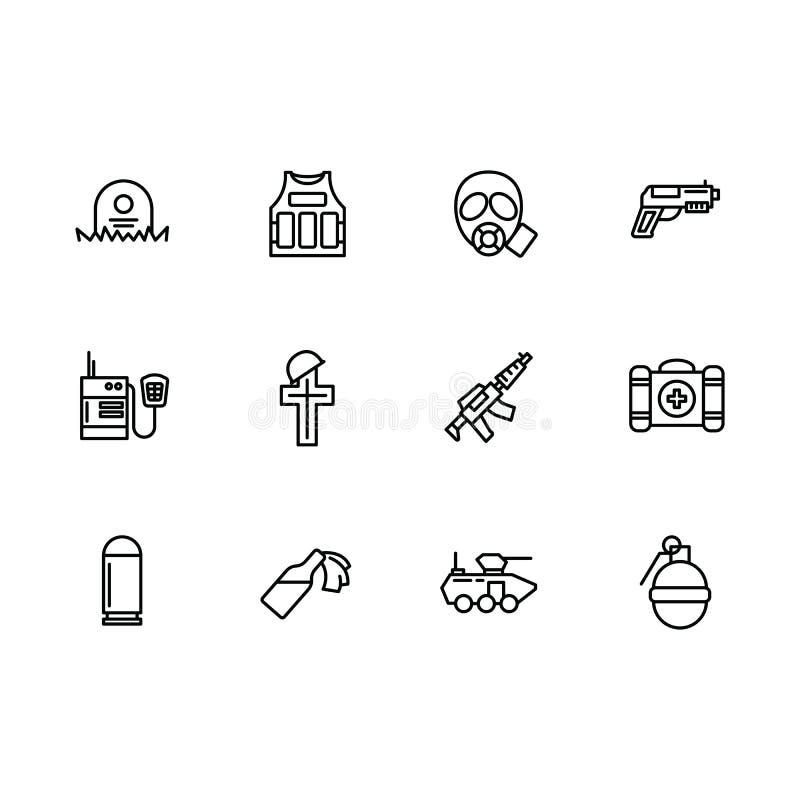 Enkelt uppsättningkrig, armé, anti-terrorism, stridvektorlinje symbol Innehåller sådan symbolskroppharnesk, gasmasken, kemisk att stock illustrationer