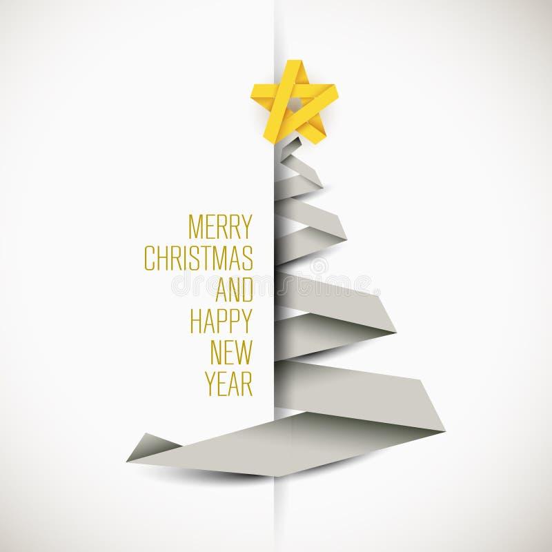 Enkelt vektorkort med julträdet royaltyfri illustrationer