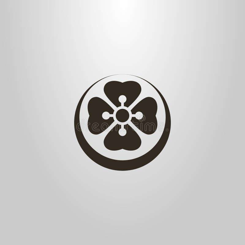 Enkelt vektorsymbol av en abstrakt blommalotusblomma i en rund ram royaltyfri illustrationer