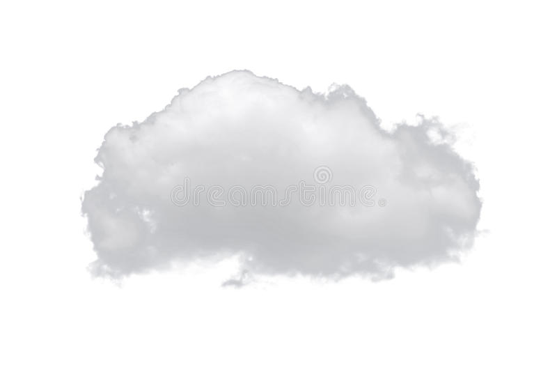 Enkelt vitt moln för natur som isoleras på vit bakgrund royaltyfri foto