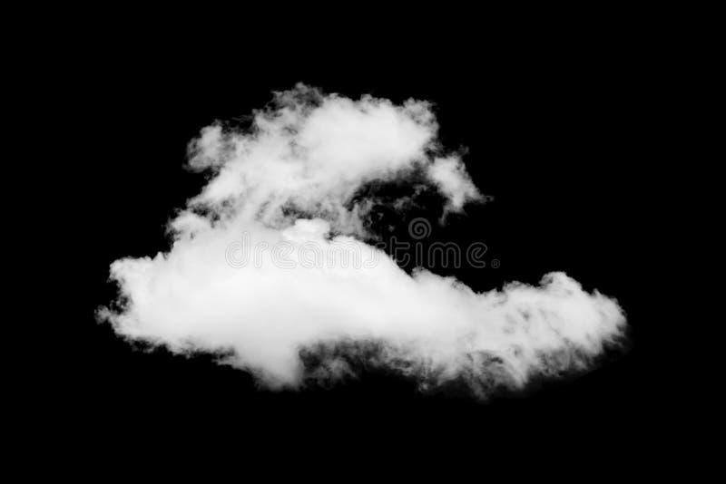 Enkelt vitt moln som isoleras på svart bakgrund arkivfoton