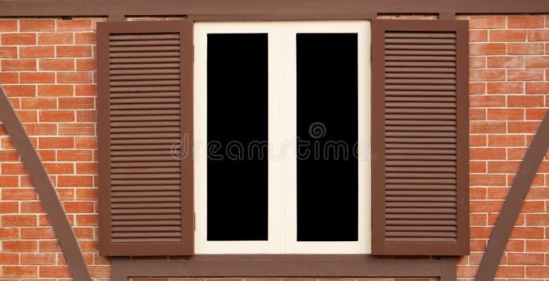 Enkelt wood gammalt fönster royaltyfri bild