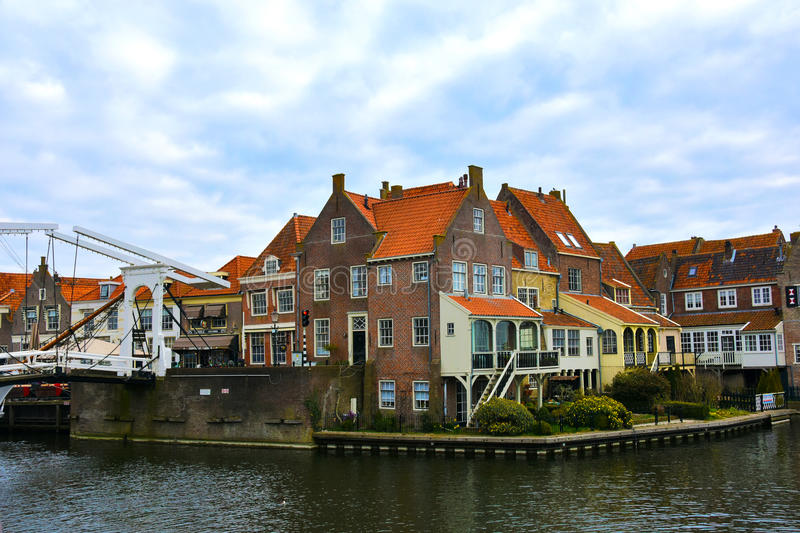 Enkhuizen. Old town of Enkhuizen at Ijsselmeer in Netherlands royalty free stock images