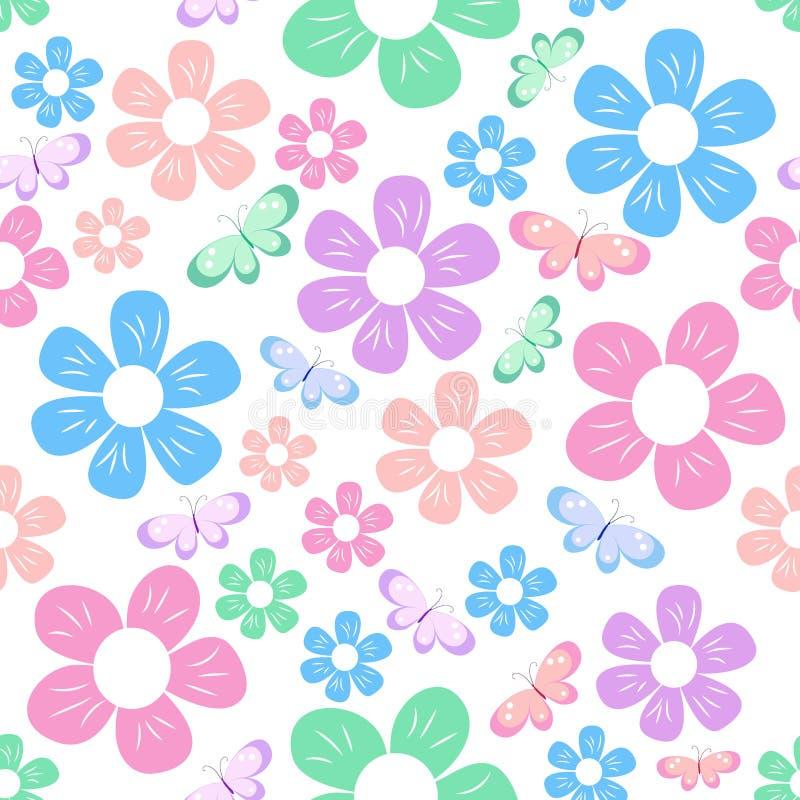 Enkla blommor mönstrar stock illustrationer