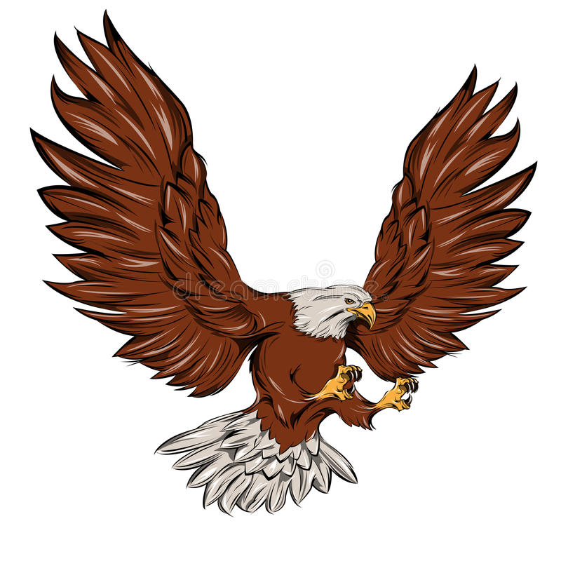 Enkla Eagle During Landing vektor illustrationer