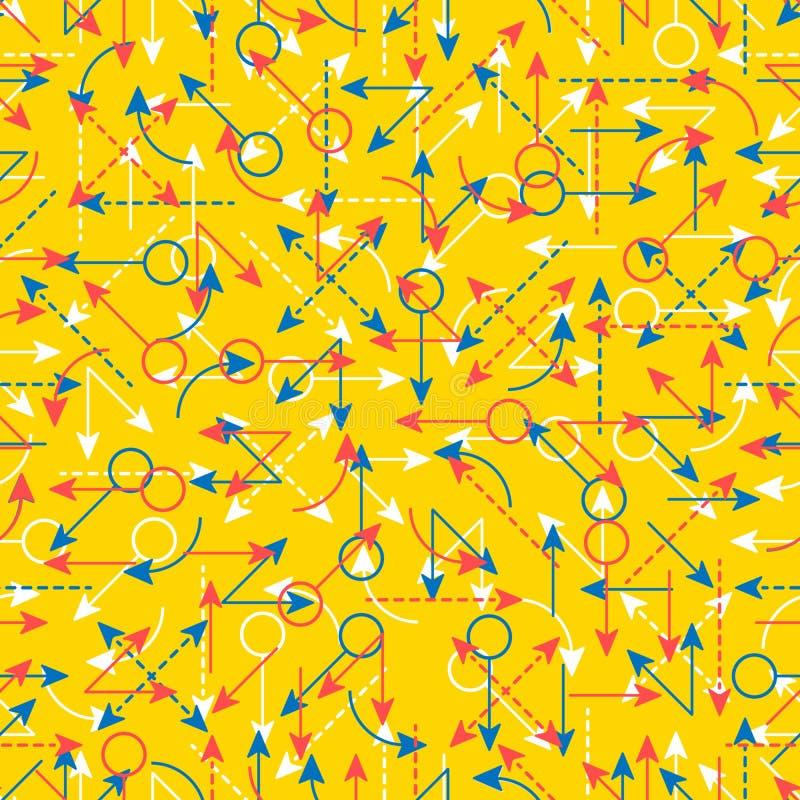 Enkla färgpilar för fastställd sömlös modell stock illustrationer