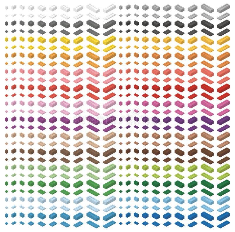 Enkla färgrika tegelstenar för barntegelstenleksak som isoleras på vit bakgrund Storpack för färgspektrum av tegelstenar Alla teg vektor illustrationer