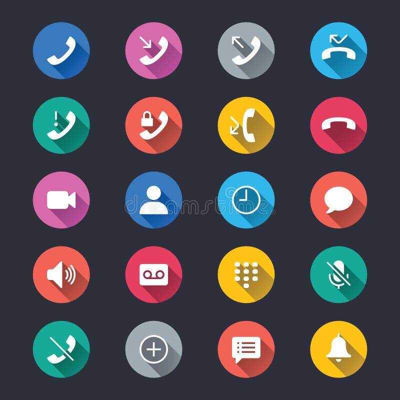 Enkla färgsymboler för telefon royaltyfri illustrationer