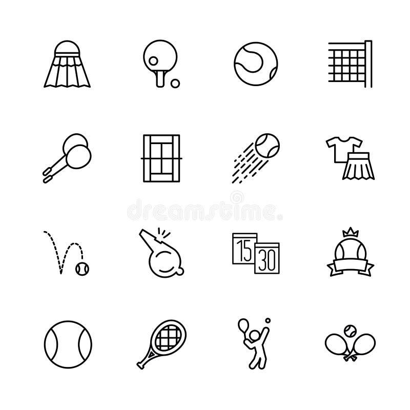 Enkla fastställda symboler tennis, badminton och stiftpong Innehåller sådana symbolspippier, fjäderbollen, racket, bollen, spelpl stock illustrationer