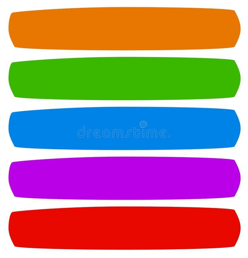 Enkla former för knapp (eller banret), bakgrund i matcha färg 5 royaltyfri illustrationer