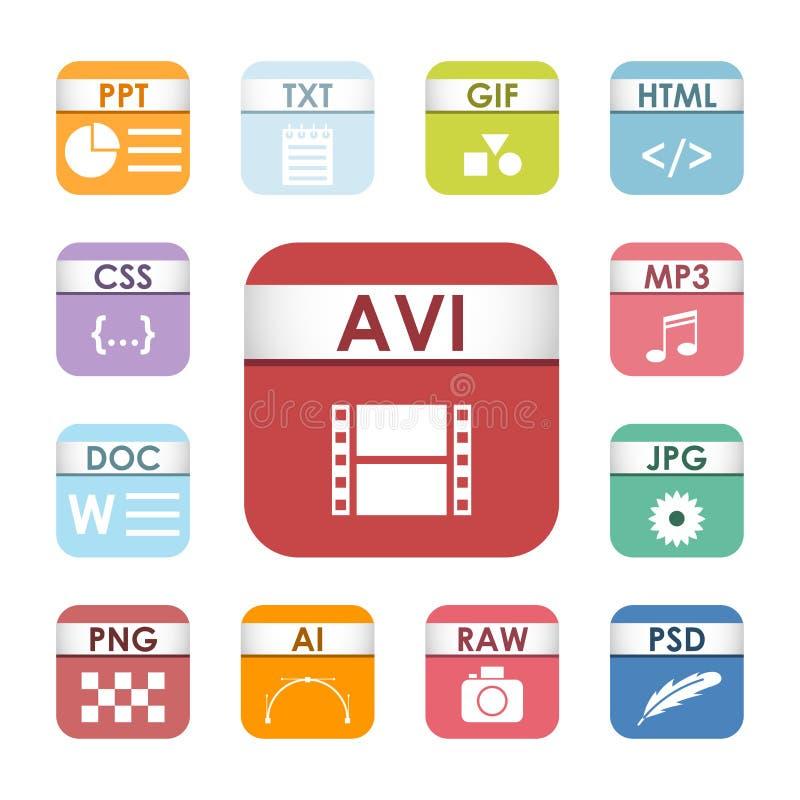 Enkla fyrkantiga filtyper formaterar symbol för dokument för presentation för etikettsymbolsuppsättning och multimedia för ljudsi royaltyfri illustrationer