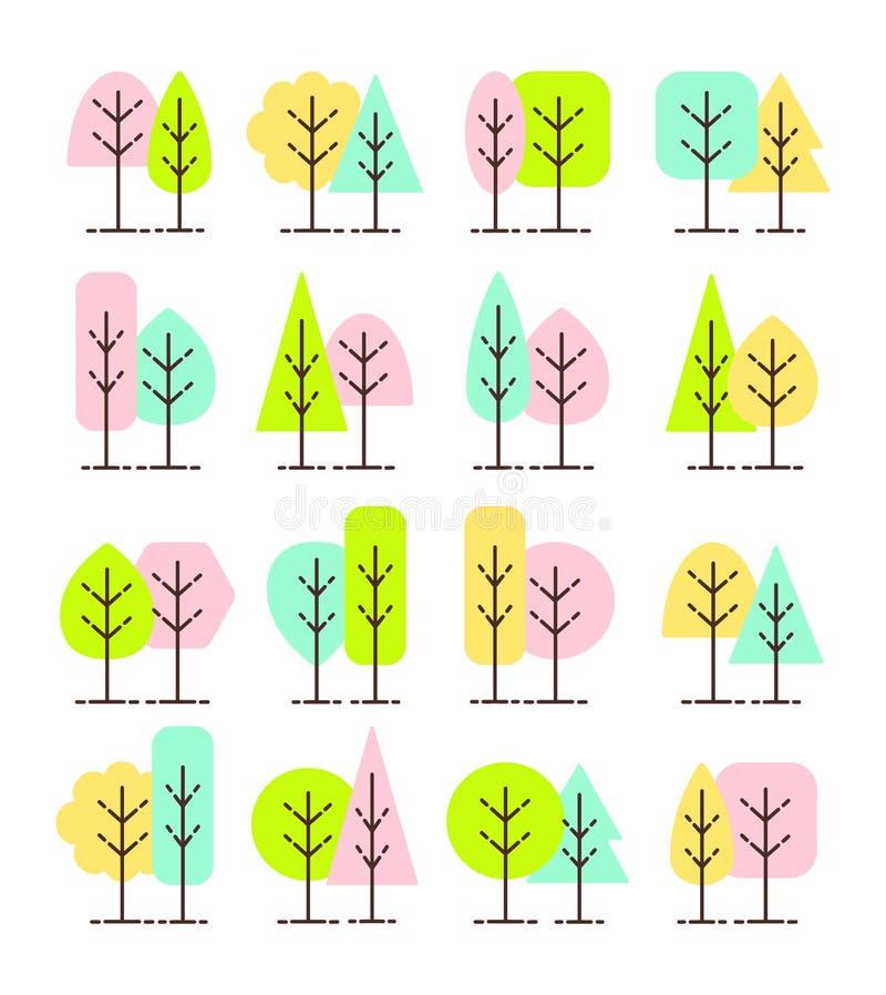 Enkla geometriska trädsymboler Plan symbolsuppsättning av vårskogväxter Naturligt parkera & trädgårdtecken Isolerat anmärka royaltyfri illustrationer