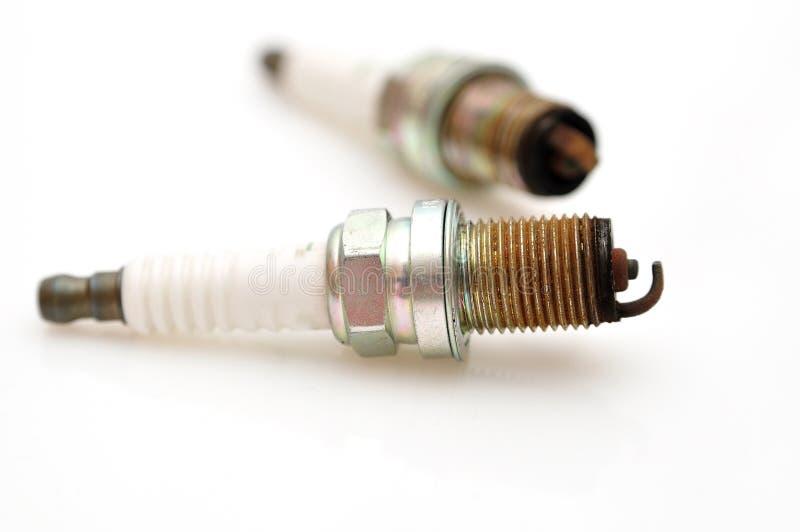 Enkla gnistor för använd bil för elektrod. royaltyfri fotografi
