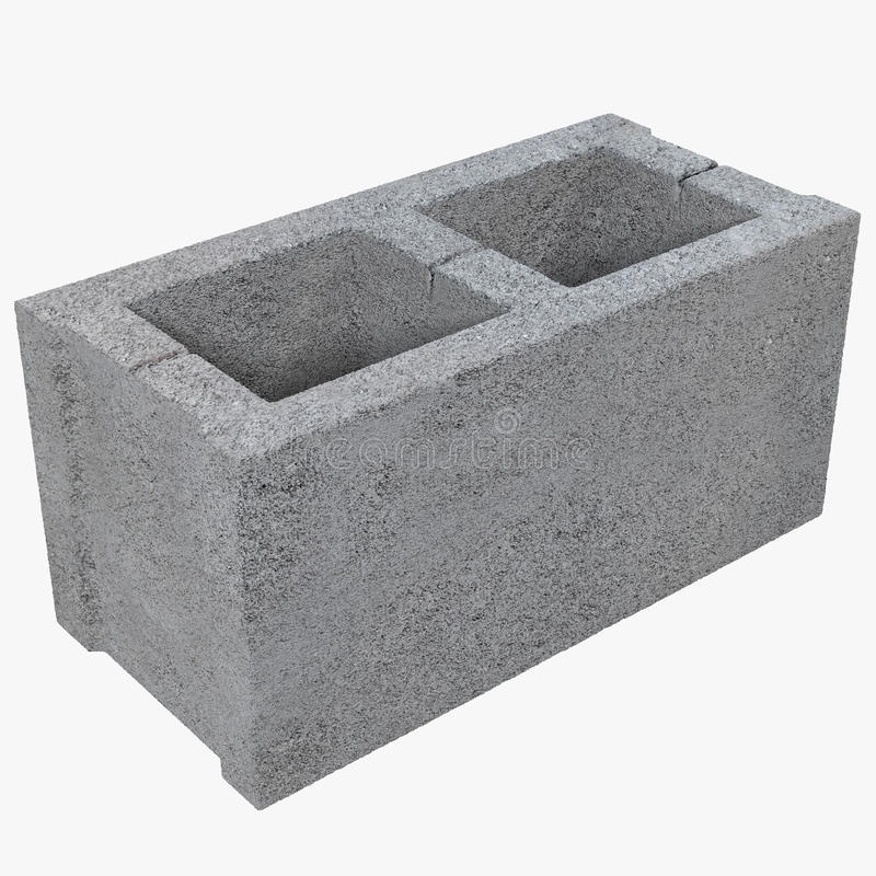 Enkla Gray Concrete Cinder Block Isolated på den vita illustrationen 3D vektor illustrationer