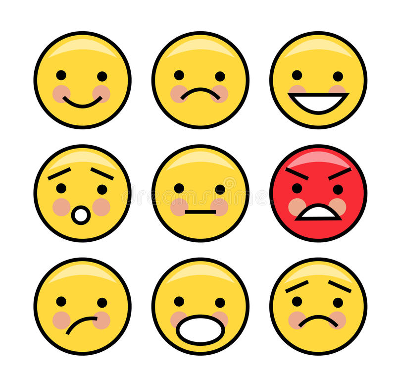 Enkla gula emoticons stock illustrationer