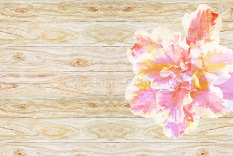Enkla härliga abstrakta blommaazaleor på träbackgrounen royaltyfri illustrationer