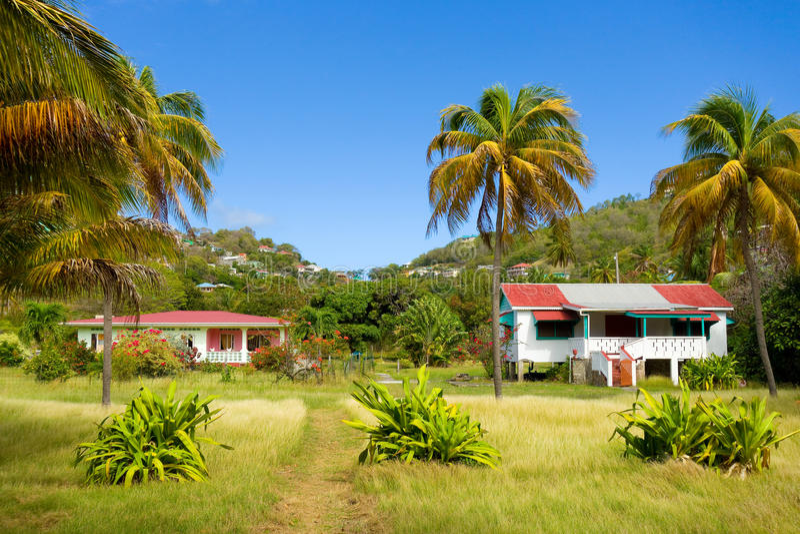 Enkla hyrahus i det karibiskt royaltyfri fotografi