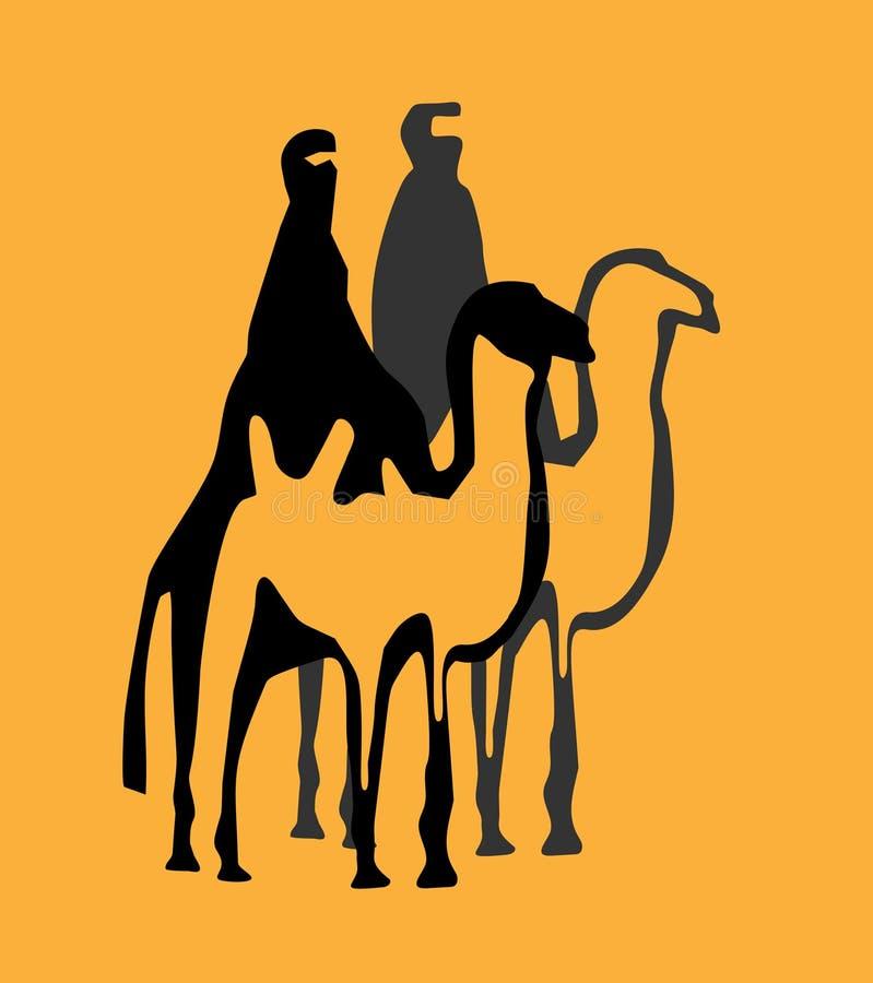 Enkla illustrationmän på kamel vektor illustrationer