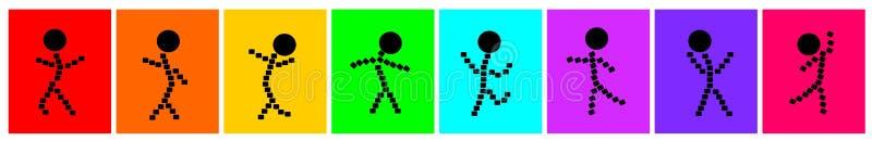 Enkla klotterprickar dansar tecknade filmen stock illustrationer