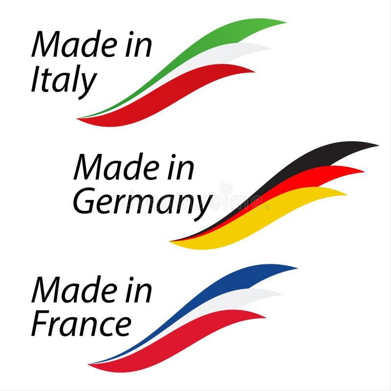 Enkla logoer som göras i Italien, göras i Tyskland och göras i Frankrike vektor illustrationer