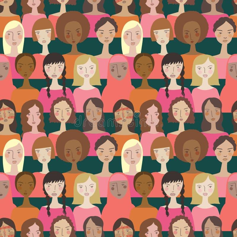 Enkla minimalistic kvinnor för vektor i Pantones färg av den sömlösa modellbakgrunden för år vektor illustrationer
