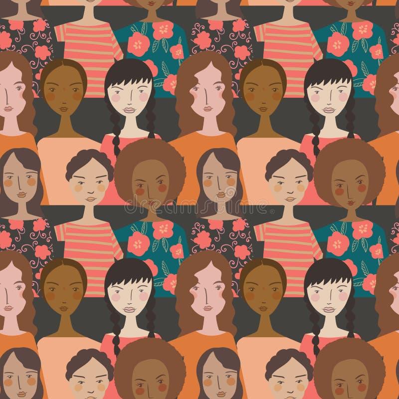 Enkla minimalistic kvinnor för vektor i Pantones färg av den sömlösa modellbakgrunden för år royaltyfri illustrationer