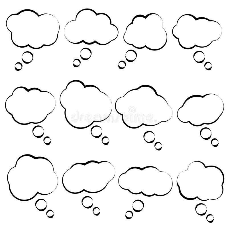 Enkla moln för vektorbubblaanförande vektor illustrationer
