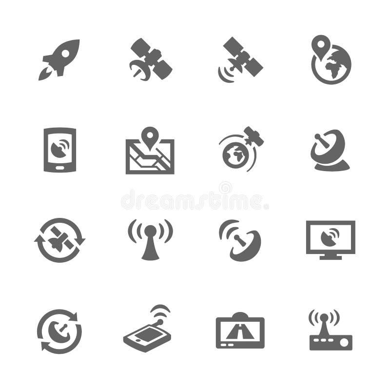 Enkla satellit- symboler stock illustrationer