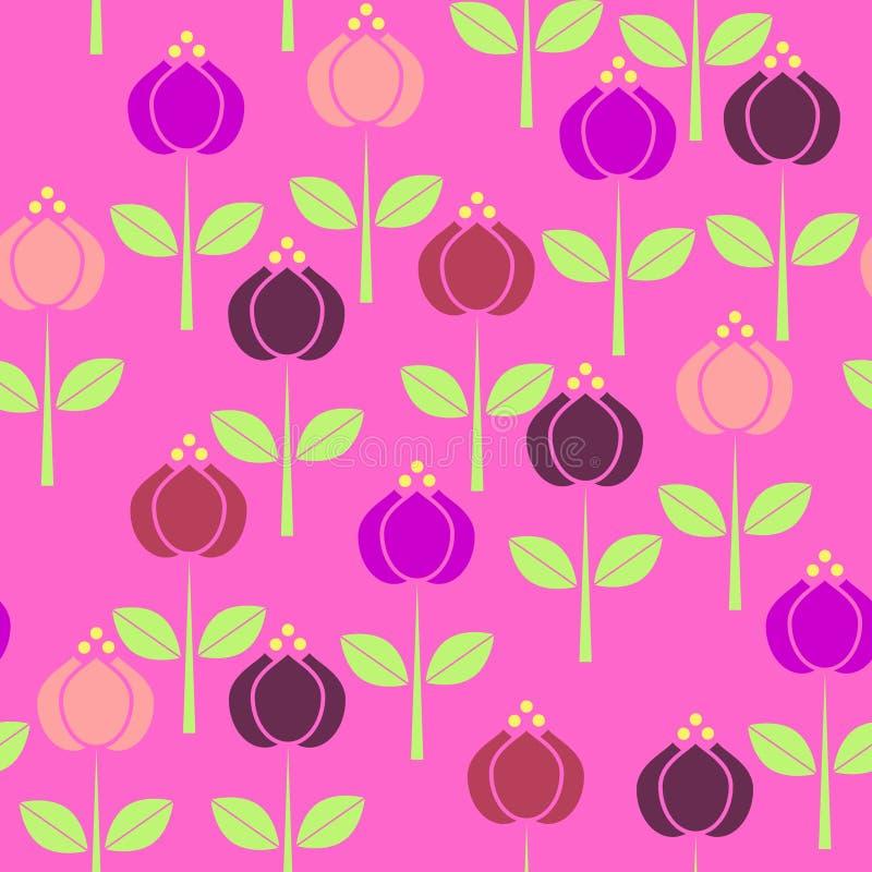 Enkla schematiska färgrika blommor med gröna sidor och stammar, l royaltyfri illustrationer