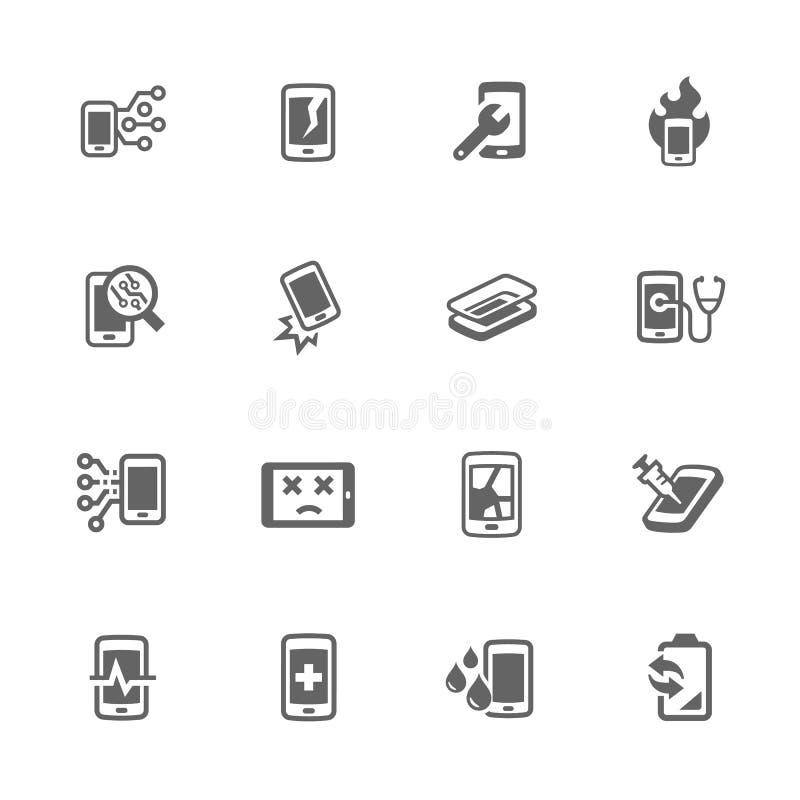 Enkla smarta telefonreparationssymboler stock illustrationer