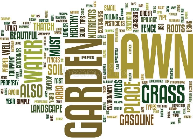 Enkla spetsar för gräsmatta och för trädgård för begrepp för moln för ord för framgångtextbakgrund royaltyfri illustrationer