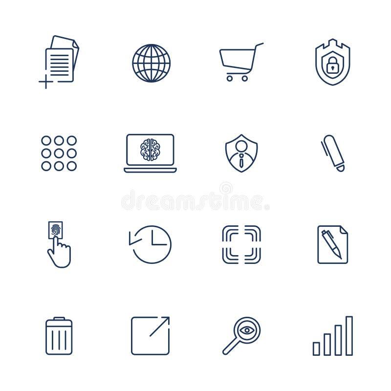 Enkla symboler f?r app, program och platser inst?llda olika symboler royaltyfri illustrationer