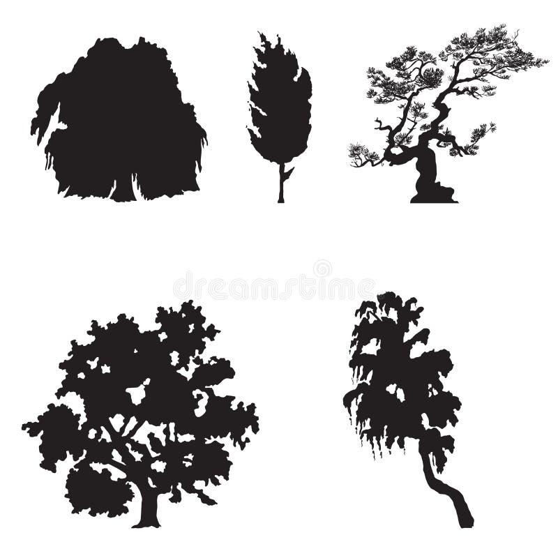 Enkla Treesilhouettes vektor illustrationer