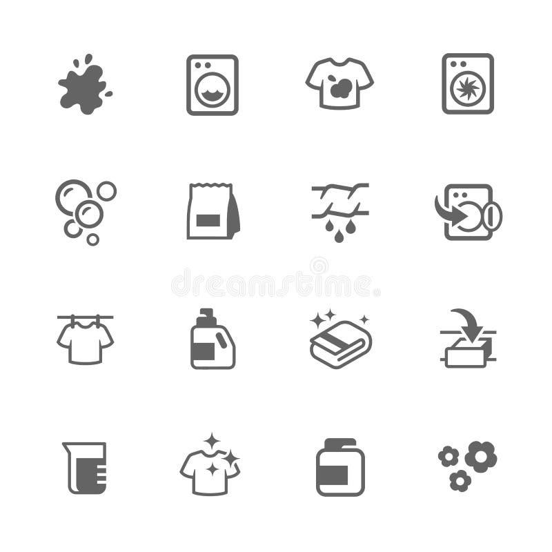 Enkla tvätterisymboler royaltyfri illustrationer