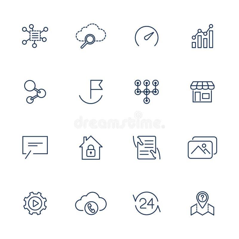 Enkla UI-symboler f?r app, platser, program Olika UI-symboler Enkla pictograms p? vit bakgrund vektor illustrationer