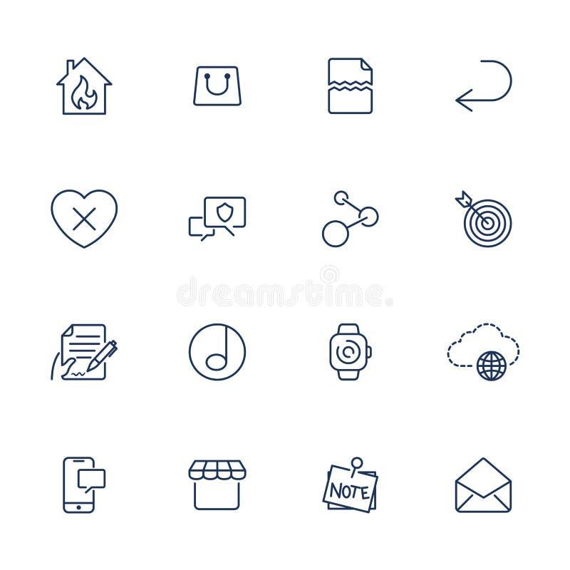 Enkla UI-symboler f?r app, platser, program Olika UI-symboler Enkla pictograms p? vit bakgrund stock illustrationer