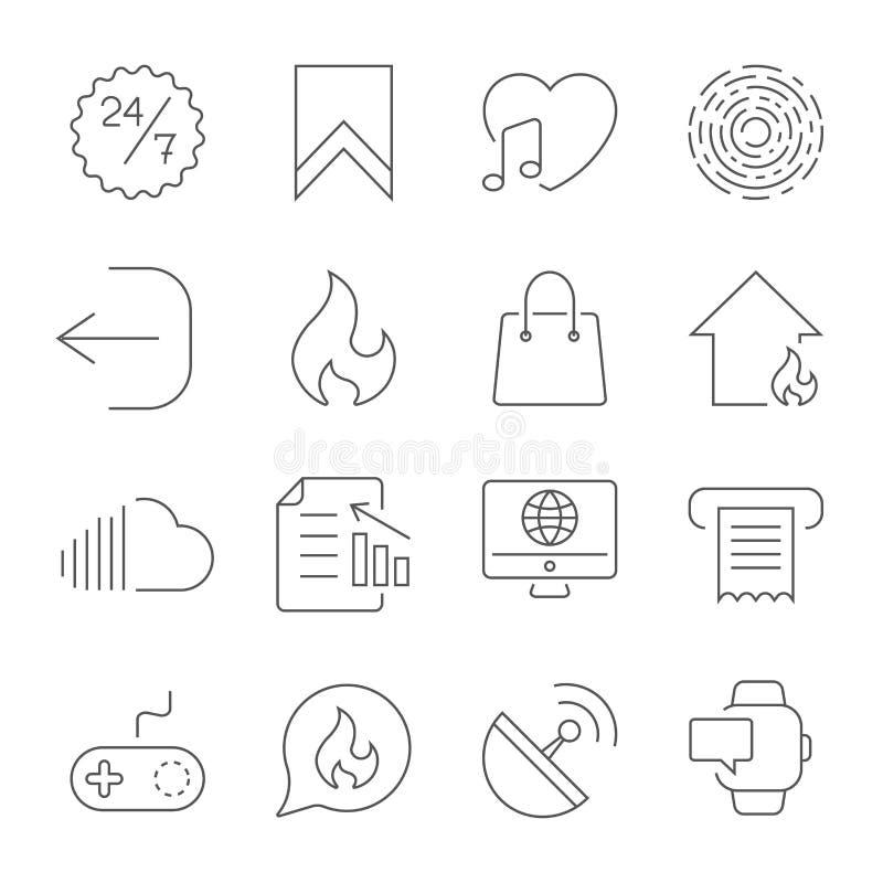 Enkla UI-symboler f?r app, platser, program Olika UI-symboler Enkla pictograms p? vit bakgrund Redigerbara Storke royaltyfri illustrationer