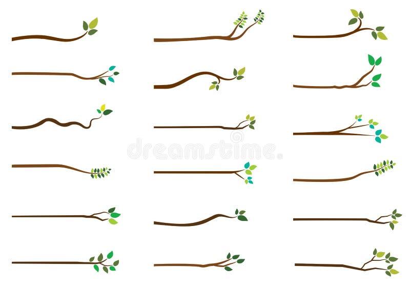 Enkla vektorträdfilialer med gröna sidor royaltyfri illustrationer